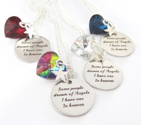 'Some People Dream of Angels I have one in Heaven' Glass Heart Necklace - Boxed
